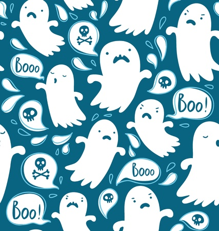 ghost face: Seamless Halloween pattern with various spooky ghosts