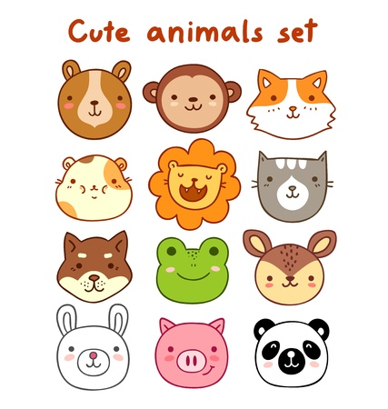 Cute animals Set Vector