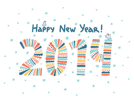 Happy New Year 2014 greeting card Illustration