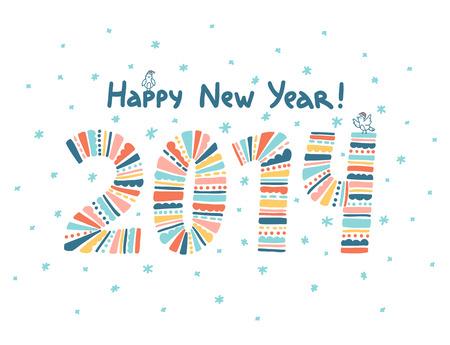 Happy New Year 2014 greeting card Illustration