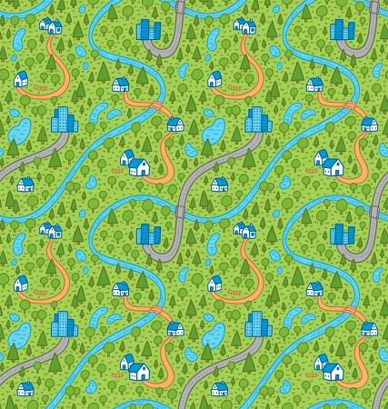 Landscape seamless pattern in color with rivers, roads and houses Vector
