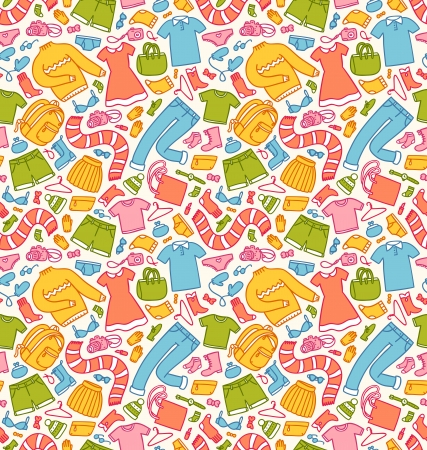 Clothes seamless pattern in color Vector