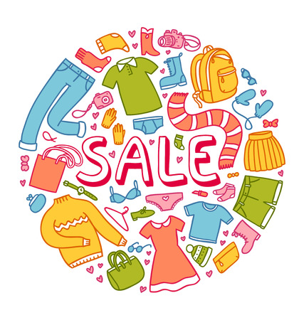 Sale illustration with clothes and other things  Vector