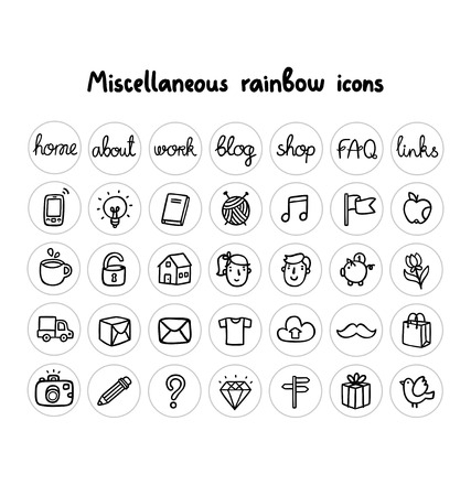 miscellaneous: Miscellaneous doodle icons black and white