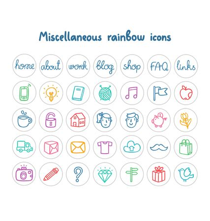 miscellaneous: Miscellaneous doodle icons color on white Illustration