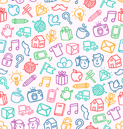 Miscellaneous doodle seamless pattern Vector