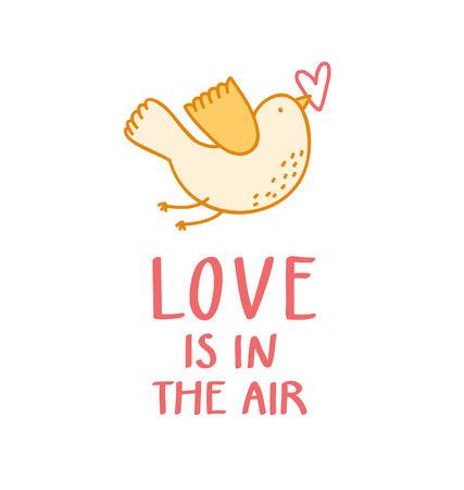 Birdie with a heart Valentine illustration Vector