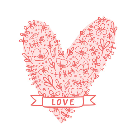 Flower heart with ribbon Vector