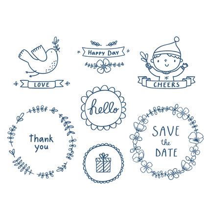 Decorative graphic set Illustration