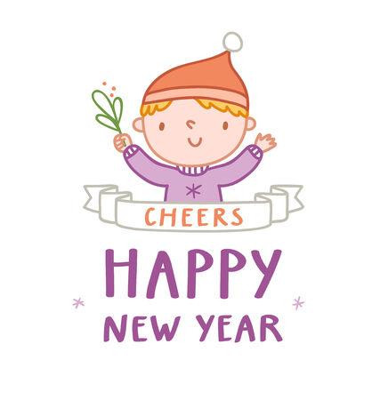 homelike: Boy cheering happy new year