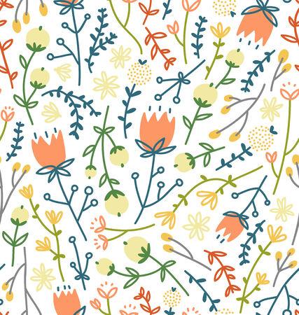 field of flowers: Field flowers seamless pattern Illustration