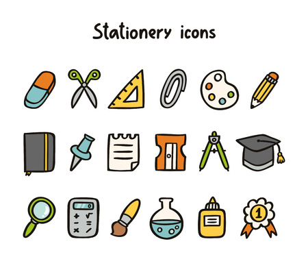 pencil sharpener: Stationery icons set