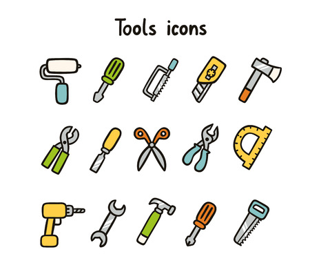 Tools icons set of 15 items Vector