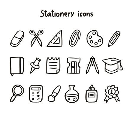 pegamento: Iconos del papel fijados en blanco y negro