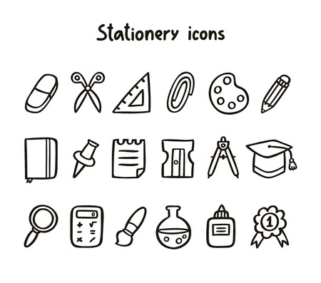 Stationery icons set in black and white Vector