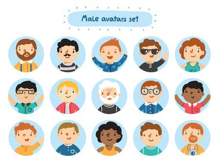 Set of 15 male characters avatars