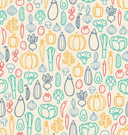 Vintage vegetables seamless pattern Vector