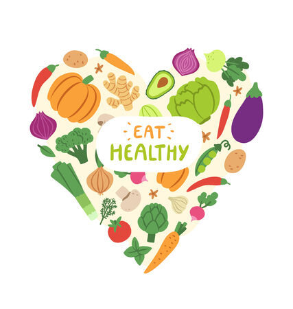 eat healthy: Vegetable heart with eat healthy sign Illustration