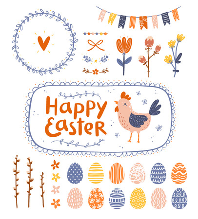 Easter graphic clip art set Vector