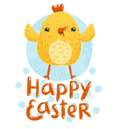 nestling: Happy Easter greetings with cute nestling Illustration