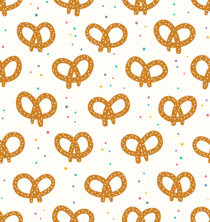 Pretzels dotted seamless pattern Vector