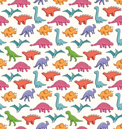 귀여운 공룡 원활한 벡터 패턴