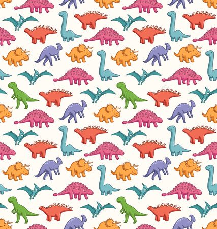 Cute dinosaurs seamless vector pattern Illustration