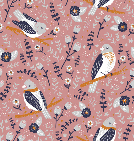 feathering: Beautiful birds and flower berries vector seamless pattern