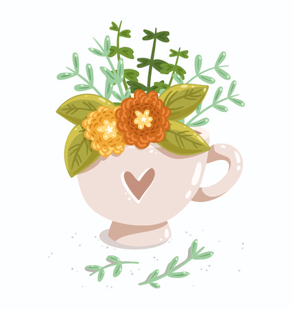 Lovely cup with flowers and heart Illustration