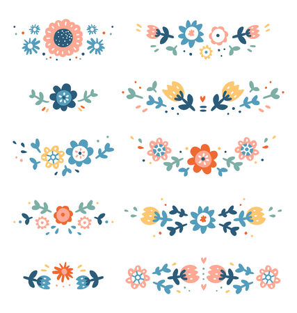Decorative floral compositions collection 向量圖像