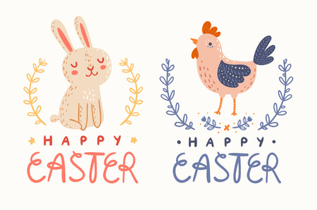 Happy Easter bunny and chicken greetings graphic Vector