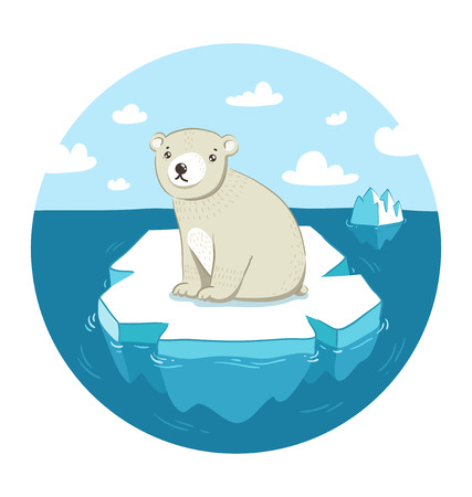 Sad polar bear sitting on ice floe Vector