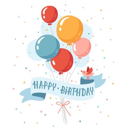 Verjaardags ballons met gelukkige verjaardag en een kleine vogel Stock Illustratie