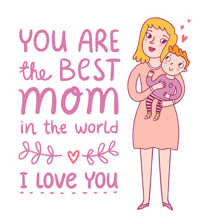 i kids: Mothers day greeting illustration