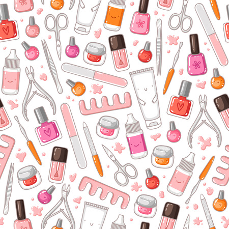 manicure and pedicure: Manicure equipment vector seamless pattern Illustration