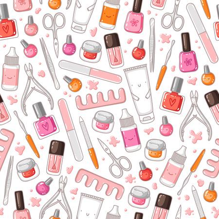 Manicure equipment vector seamless pattern Illustration