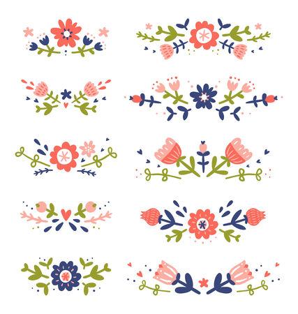 compositions: Decorative collezione composizioni floreali Vettoriali