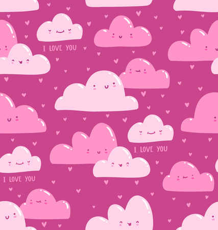 bubble gum: Pink clouds i love you seamless pattern, vector illustration