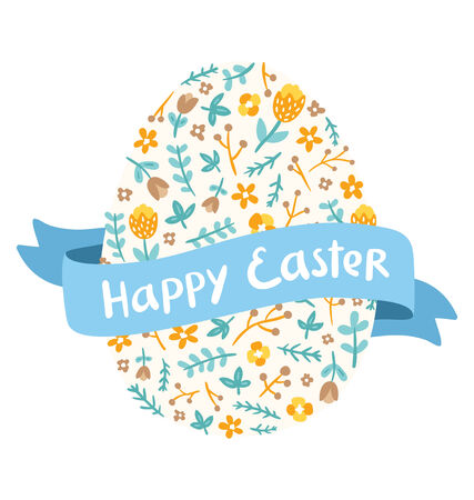 Floral egg silhouette with Easter greeting on a ribbon vector illustration