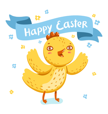 nestling: Happy Easter greeting with cute nestling vector illustration