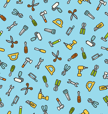 Working tools vector seamless pattern Vector
