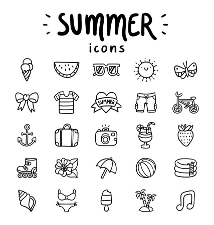 beach butterfly: Set of 25 vector summer icons Illustration