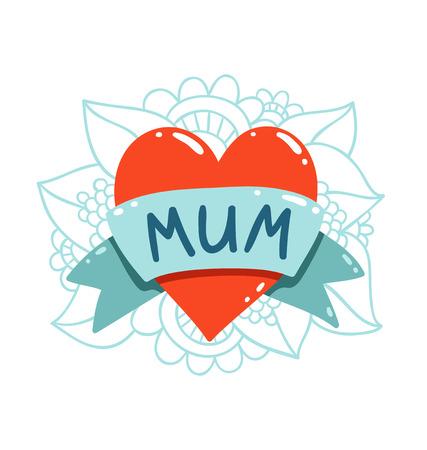 tatouage fleur: Tatouage de coeur avec le texte maman sur un ruban
