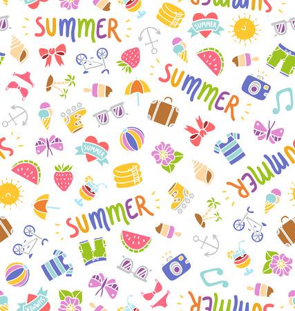 beach bag: Seamless summer things doodle pattern