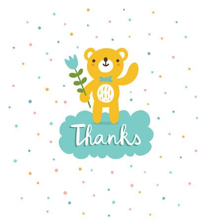 귀여운 곰은 감사를 말한다