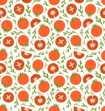 赤いトマトのシームレス パターン  イラスト・ベクター素材