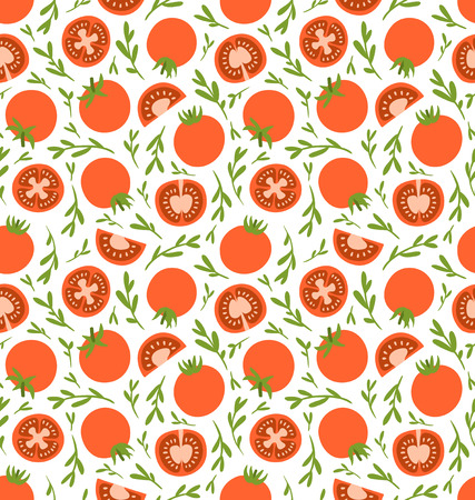 tomato juice: Red tomatoes seamless pattern