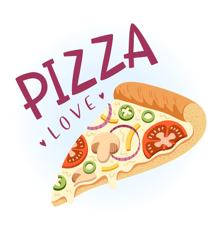 onion slice: Slice of vegetarian pizza, vector illustration Illustration