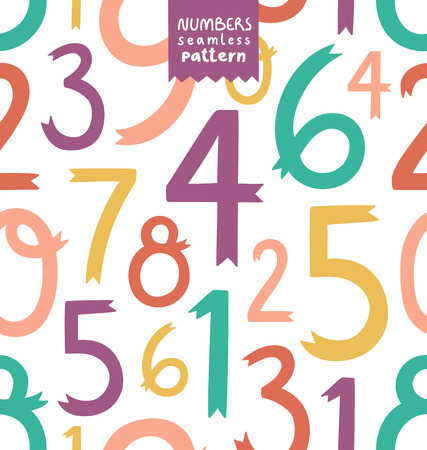 Decorative colorful numbers seamless pattern Vector