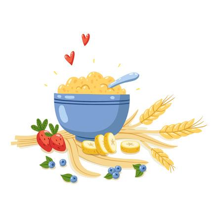 Vector illustration with porridge, berries, bananas and cereals Vettoriali